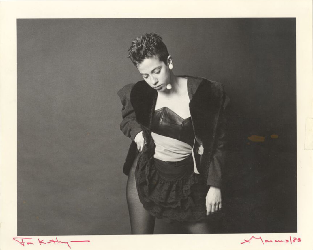 A portrait of Kathy Acker by Marcus Leatherdale. Courtesy the photographer and David M. Rubenstein Rare Book & Manuscript Library, Duke University.