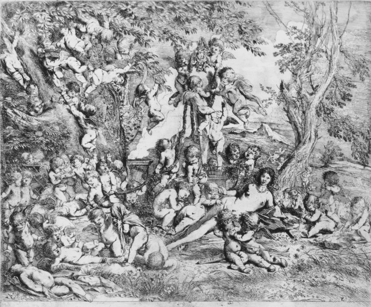 Pietro Testa, <em>The Garden of Venus who reclines in the centre before a term of Pan and surrounded by cupids</em>, ca. 1631–37, Etching. 13 3/4 x 16 11/16 in. Courtesy of the Metropolitan Museum of Art.