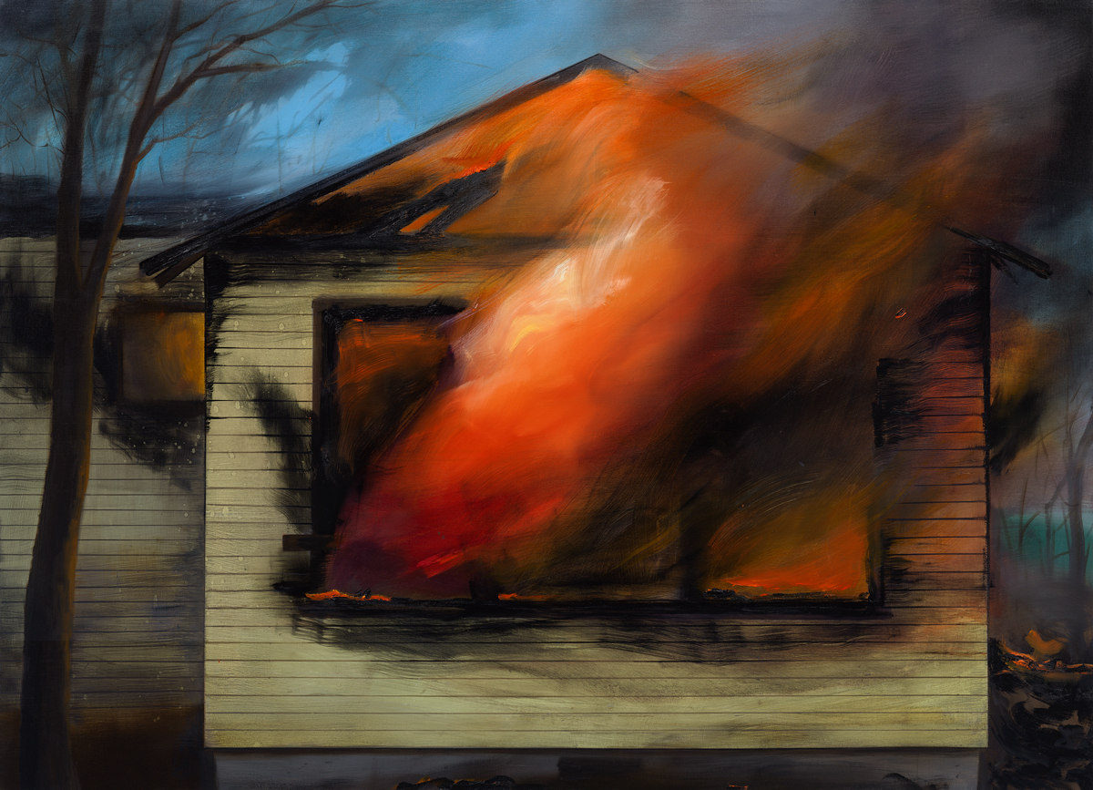 Brandi Twilley, <em>The Fire</em>, 2017. Oil on canvas, 46 x 64 inches