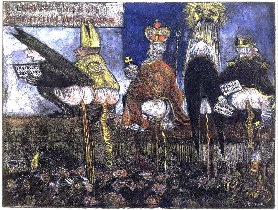 James Ensor, <em>Doctrinal Nourishment</em>, 1889/95, hand-tinted etching.
