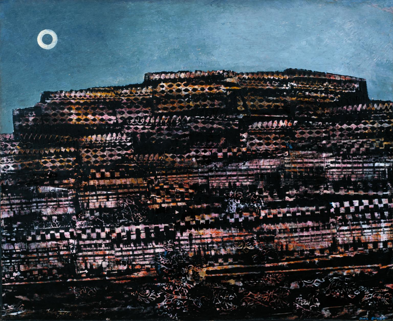 Max Ernst, <em>La Ville entière (The Entire City)</em>, 1935. Oil on paper mounted on canvas, 19 3/4 x 24 1/8 (50 x 61.5).