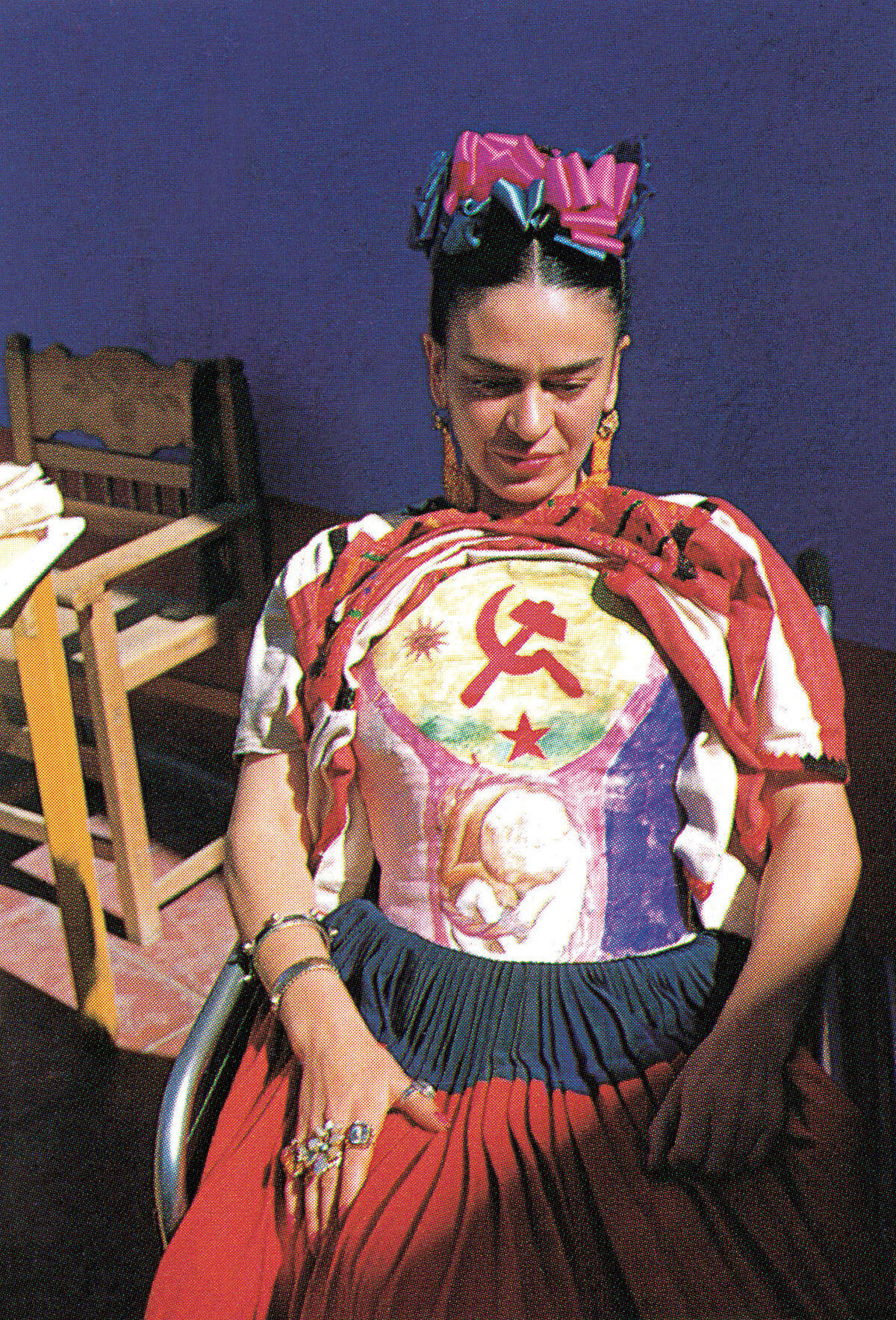 A 1951 portrait of Frida Kahlo by Florence Arquin.