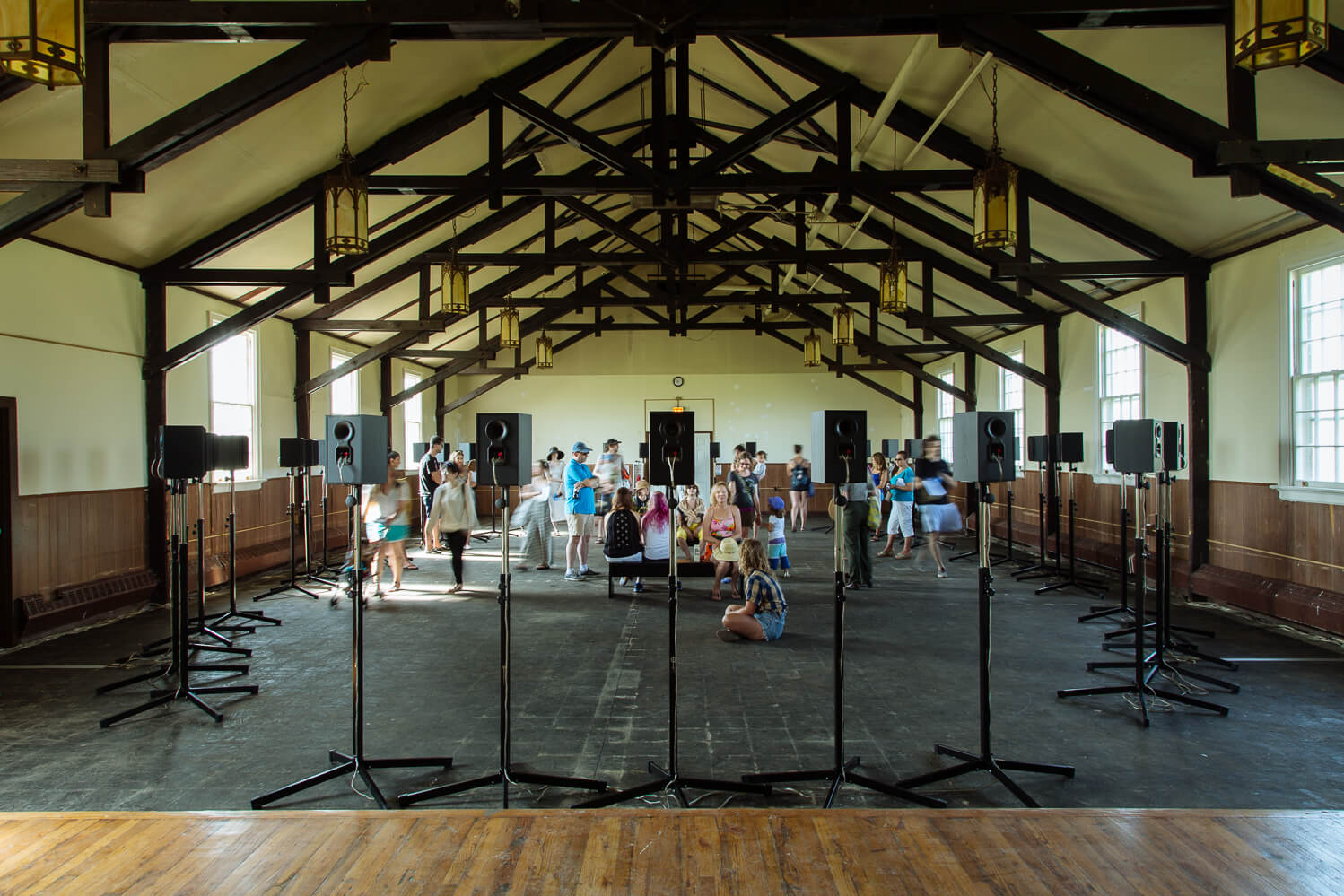 Installation view of Janet Cardiff's <em>The Forty Part Motet</em> as part of <em>Rockaway!</em> on view at Gateway National Recreation Area at Fort Tilden from June 29 to September 1, 2014. Courtesy of MoMA PS1 © 2014. Photo: Pablo Enriquez.