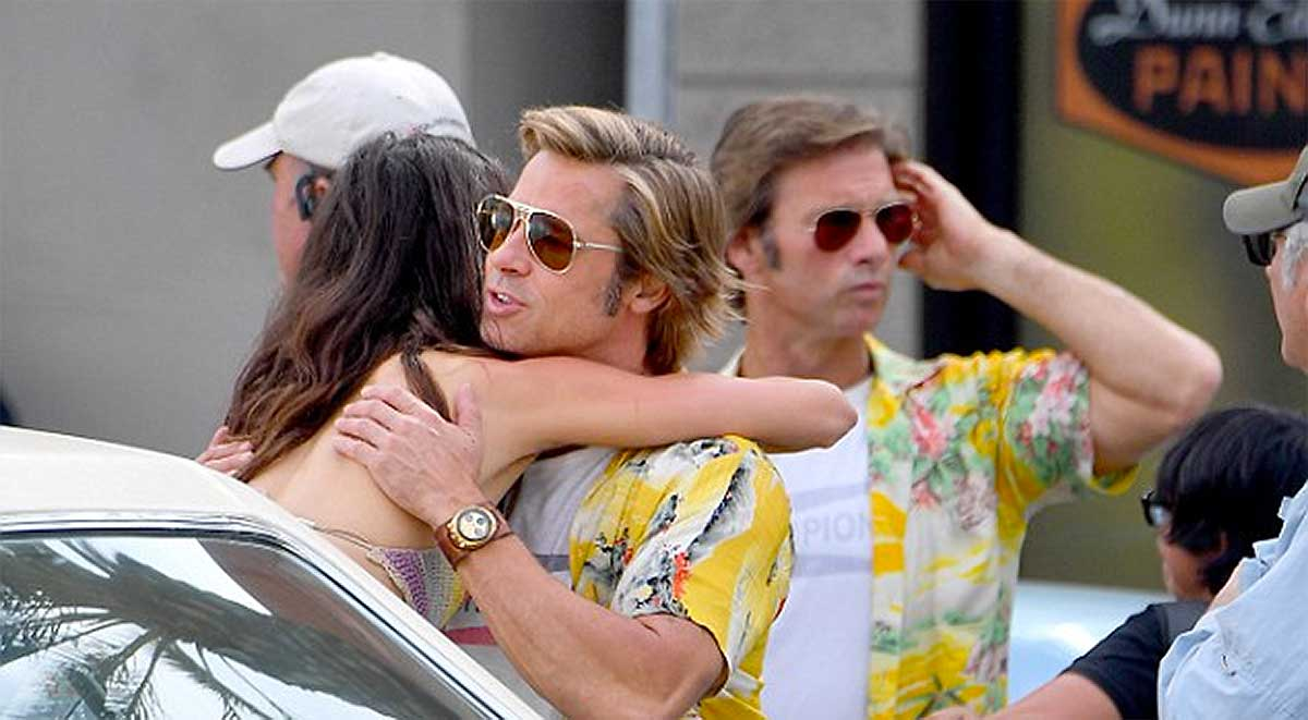 Brad Pitt and his stunt double on set of <em>Once Upon a Time... in Hollywood.</em> Courtesy <em>The Daily Mail</em>.