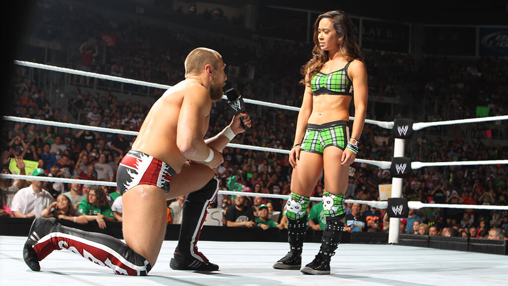 Daniel Bryan proposes to AJ Lee, Courtesy World Wrestling Entertainment.