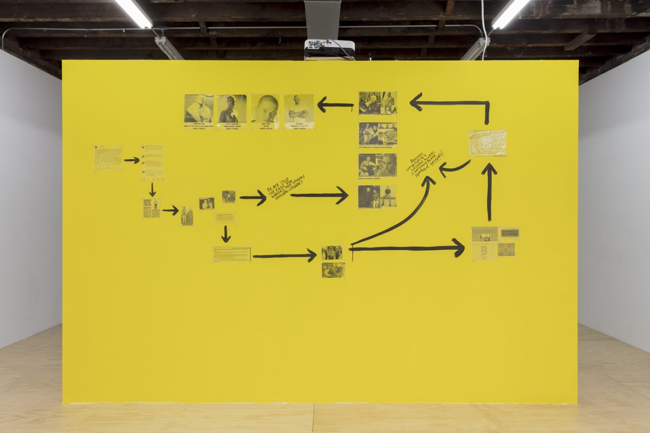 Juliana Huxtable's Untitled Wall (2017), part of her solo exhibition <em>A Split During Laughter at the Rally</em>. Image Courtesy Reena Spaulings Fine Art