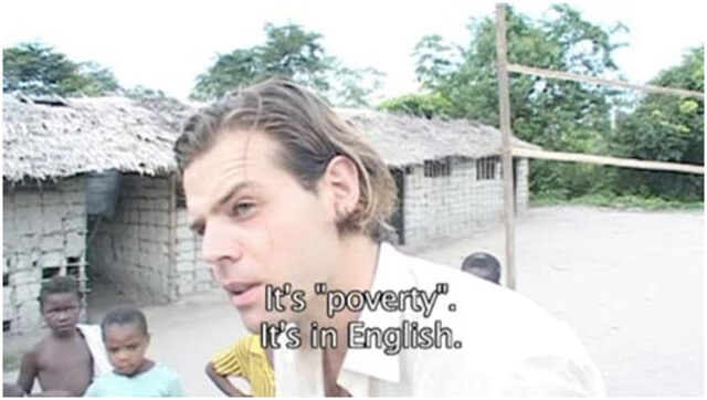 Renzo Martens in his film <em>Episode III: Enjoy Poverty</em>, 2008.