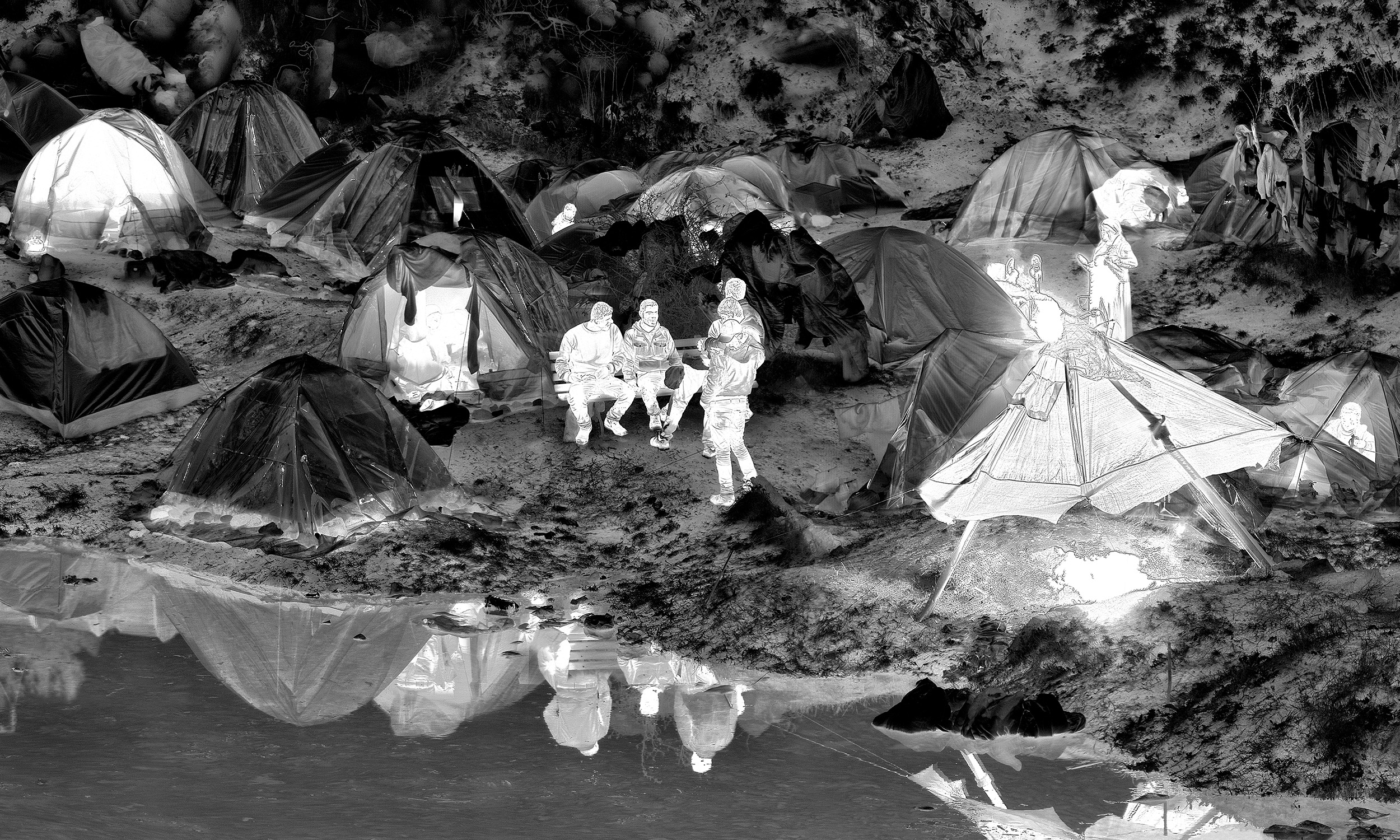 Richard Mosse, Detail from <em>Idomeni Camp</em>, Greece, 2016, digital C print on metallic paper, 40.7 x 120 inches