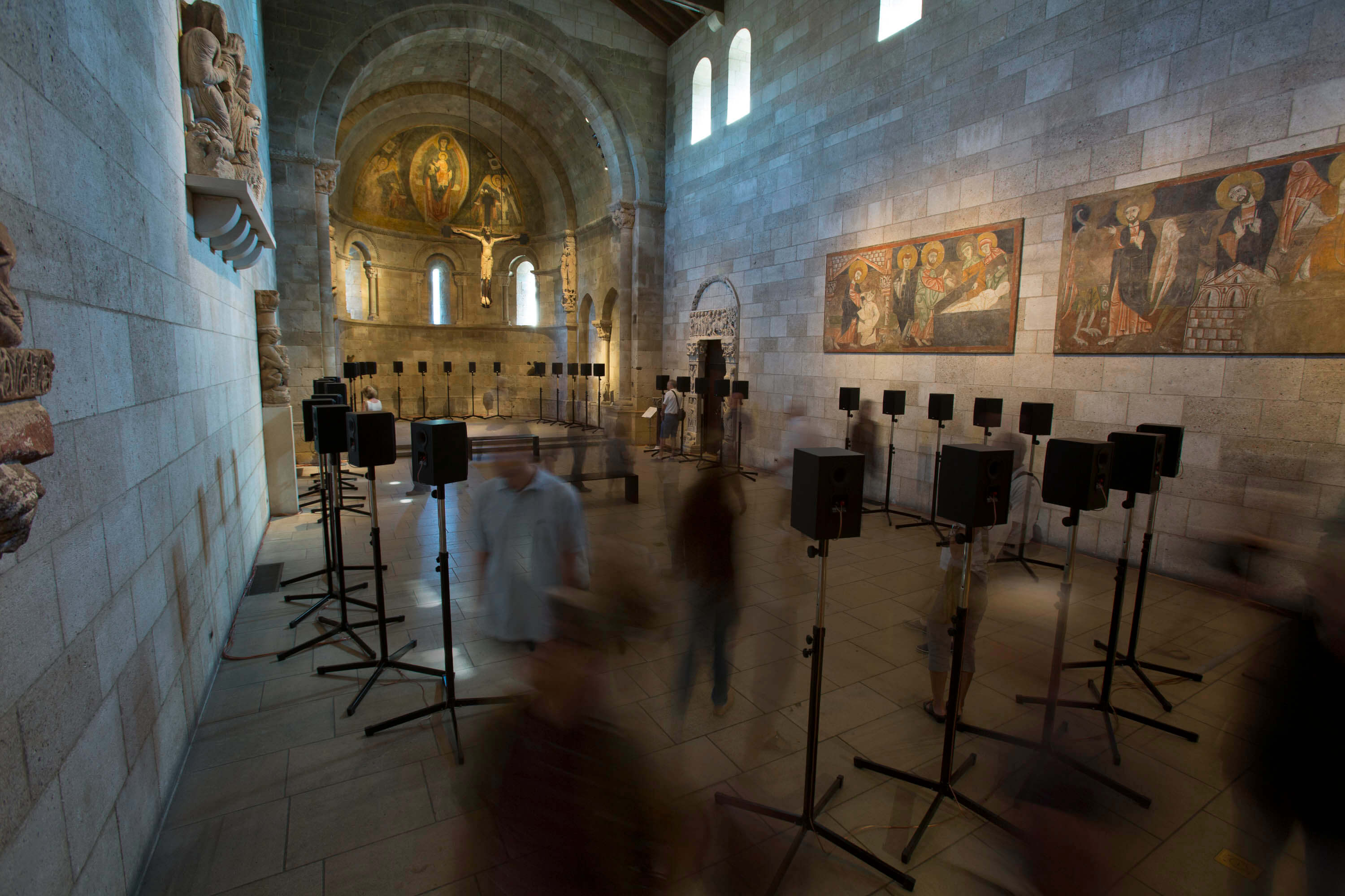 Janet Cardiff, <em>The Forty Part Motet </em> (2001) Fuentiduena Chapel at The Cloisters museum and gardens. Image: The Metropolitan Museum of Art/Wilson Santiago.