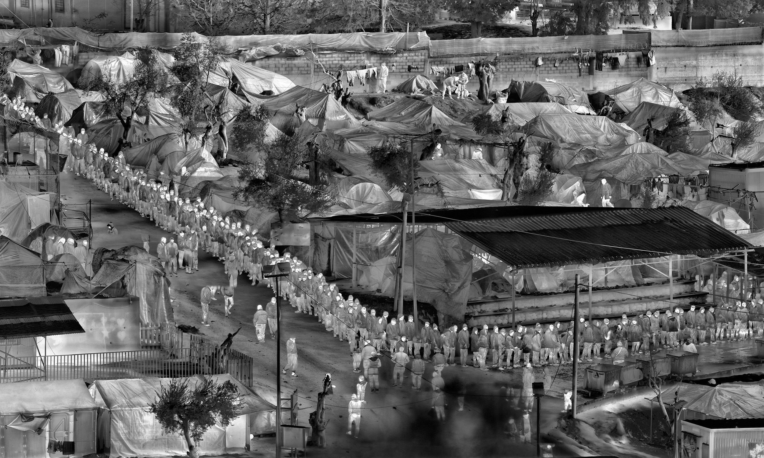 Richard Mosse, Detail from <em>Moria in Snow</em>, Lesbos, Greece, 2017, digital C print on metallic paper, 35.5 x 120 inches