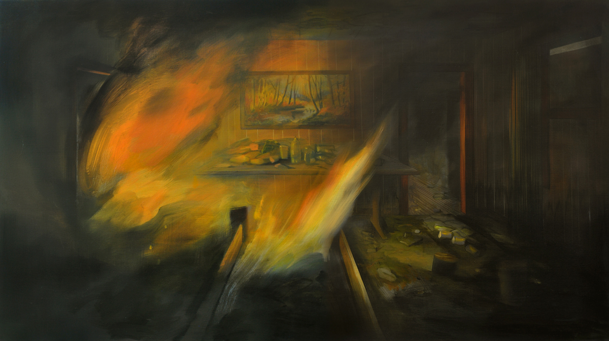 Brandi Twilley, <em>Fire and Fall Painting</em>, 2016. Oil on canvas, 32 x 56 inches