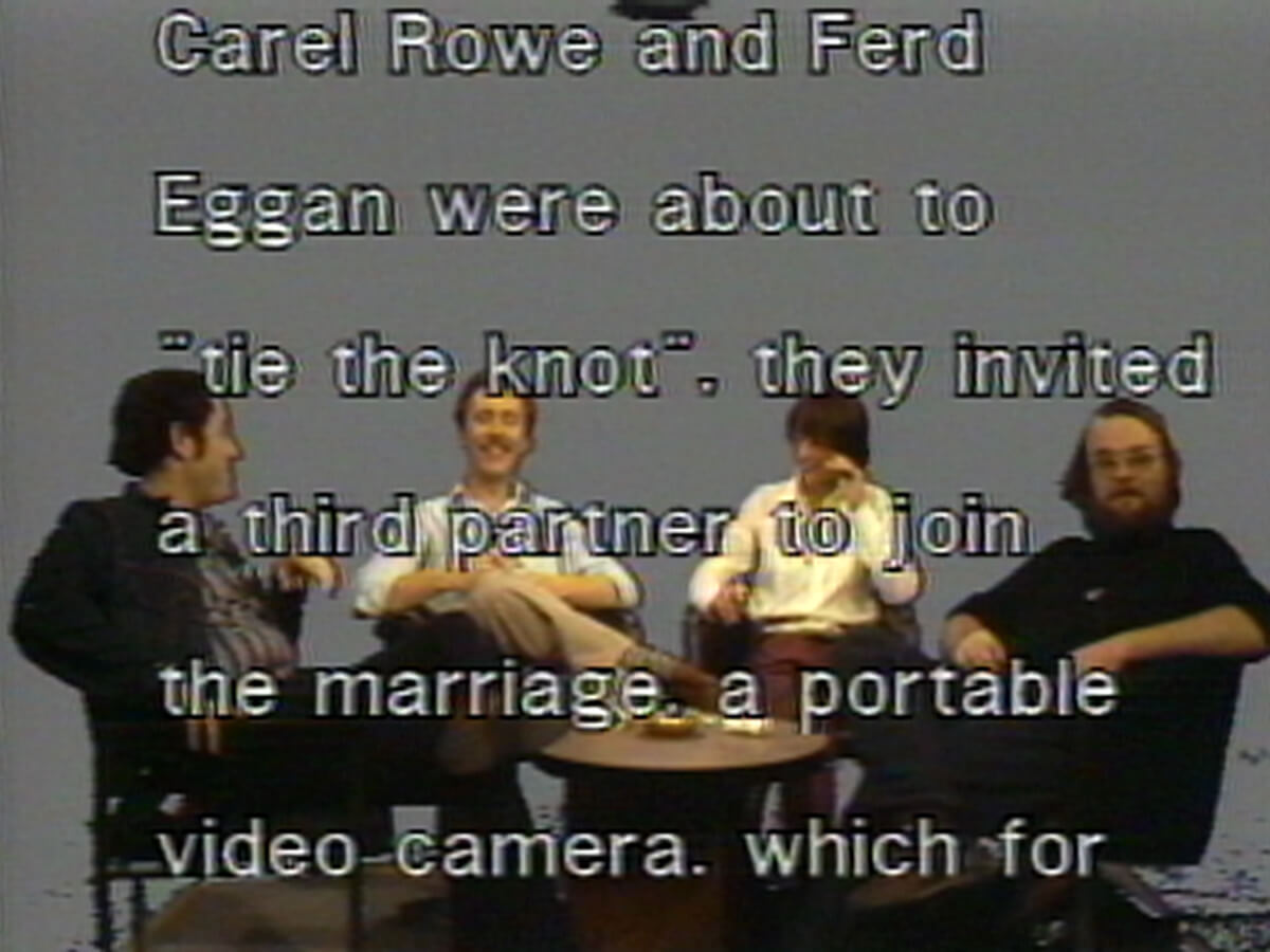 Carel and Ferd interviewing one another in the repackaged film for WNET's 1975 series <em>Video and Television Review</em>.