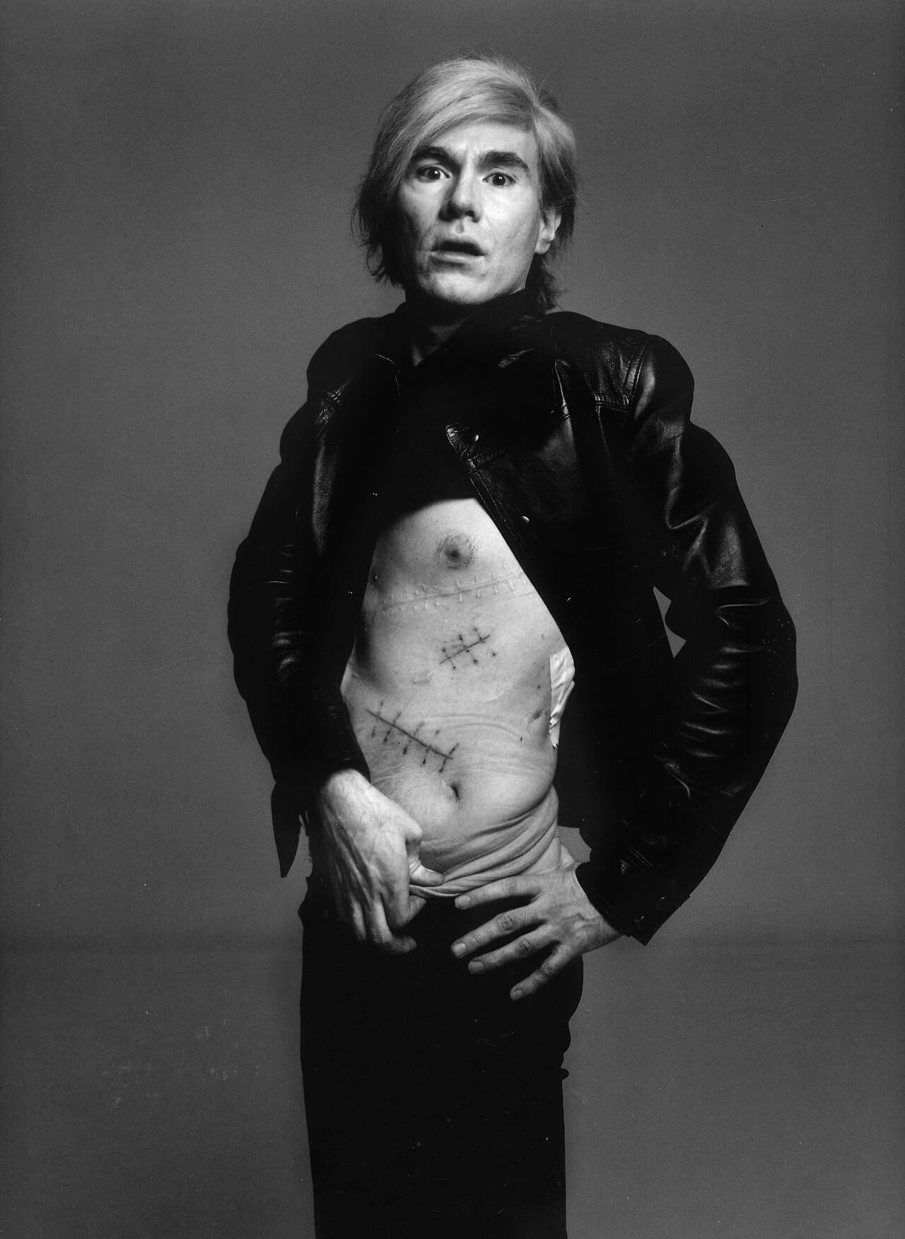 Richard Avedon's 1969 portrait of Andy Warhol, revealing his surgical scars.