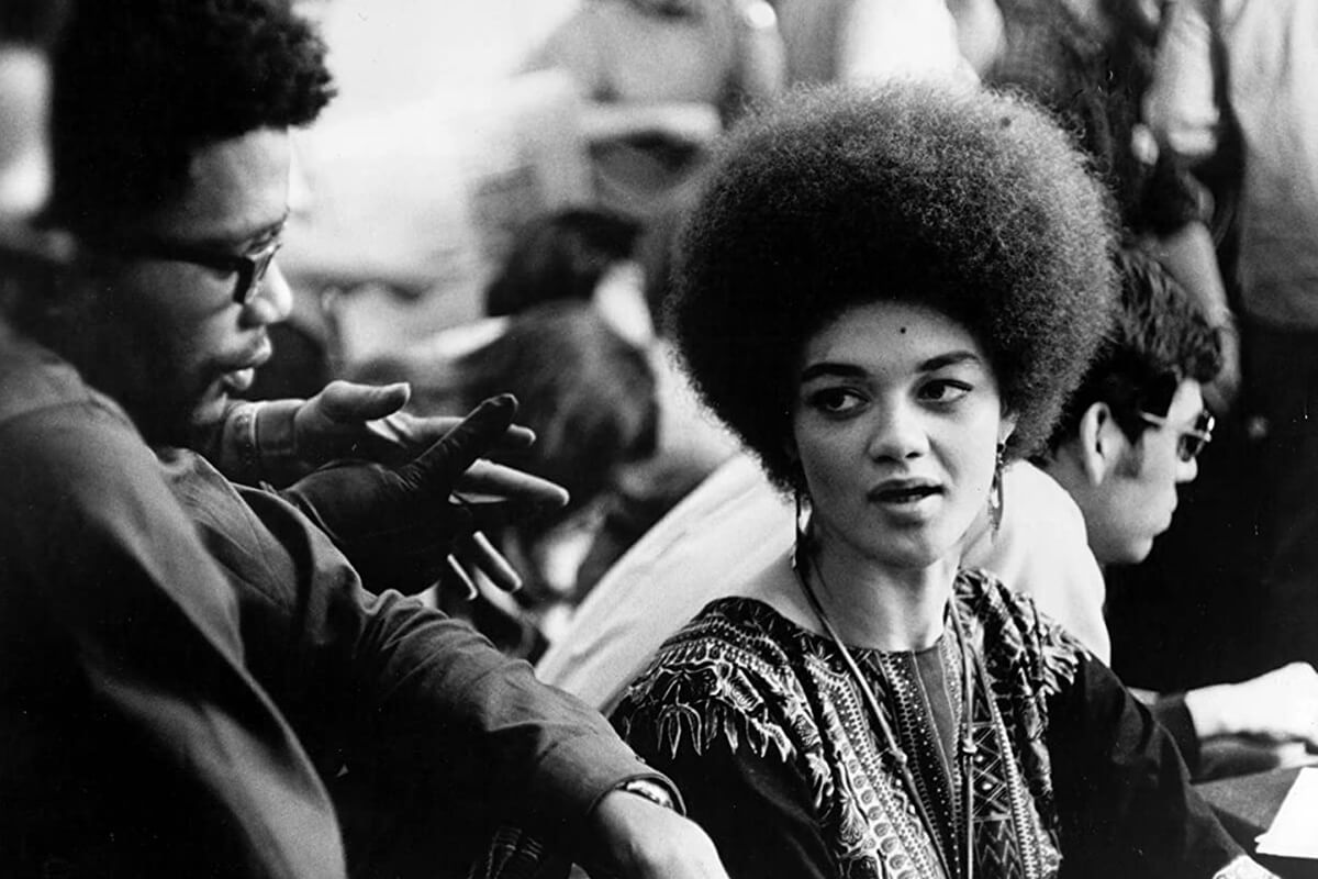 Kathleen Cleaver on the set of <em>Zabriskie Point</em>.