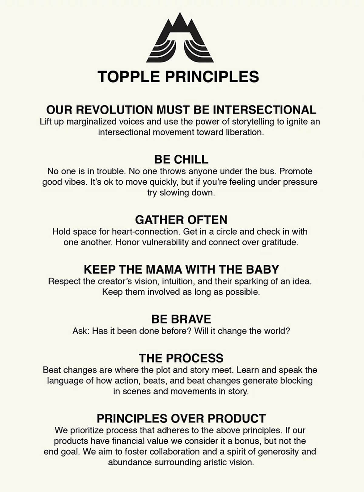 The Principles of Soloway's Topple Productions