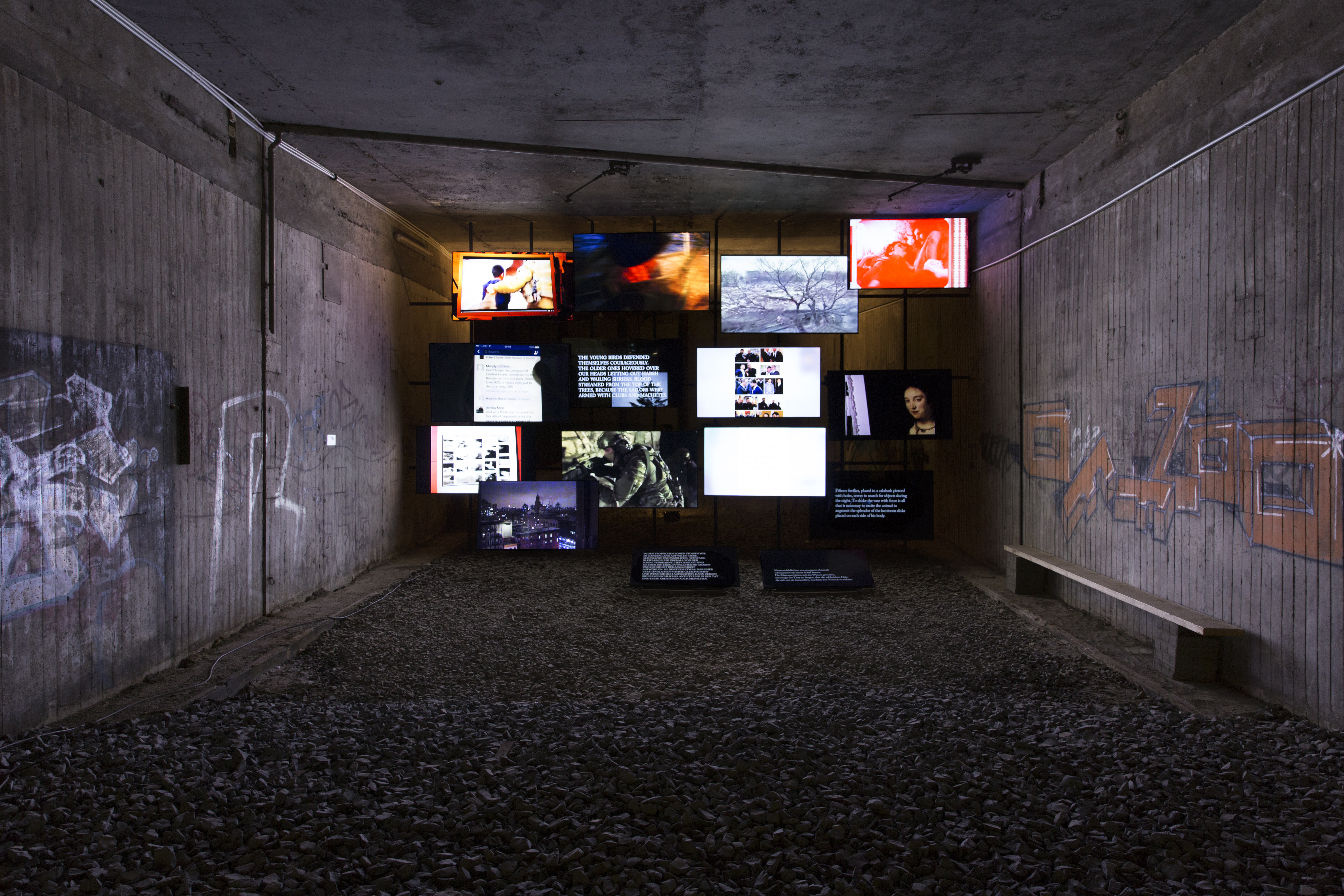 Michel Auder, <em>The Course of Empire</em>, 2017. Fourteen-channel digital video installation, Former Underground Train Station (KulturBahnhof), Kassel. Photo: Jasper Kettner